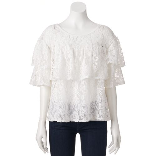 Women's LC Lauren Conrad Ruffle Lace Top