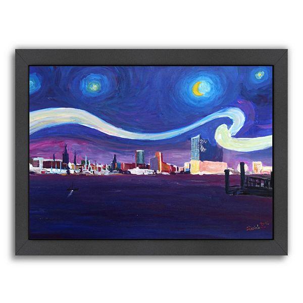 Americanflat Starry Night In Hamburg Van Gogh Inspirations Framed Wall Art