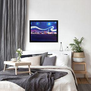 """Americanflat """"Starry Night in Hamburg  Van Gogh Inspirations"""" Framed Wall Art"""