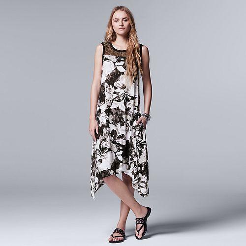 afcc6d85d3c Women s Simply Vera Vera Wang Floral Lace Handkerchief Dress