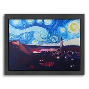 "Americanflat ""Starry Night in Landshut Van Gogh Inspirations"" Framed Wall Art"