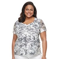 Plus Size Napa Valley Printed Lace Tee