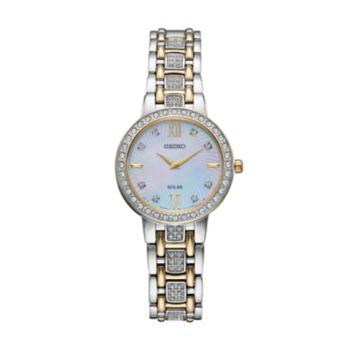 Seiko Women's Crystal Two Tone Stainless Steel Solar Watch - SUP360