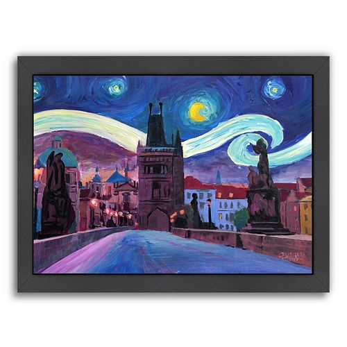"Americanflat ""Starry Night in Prague Van Gogh Inspirations"" Framed Wall Art"