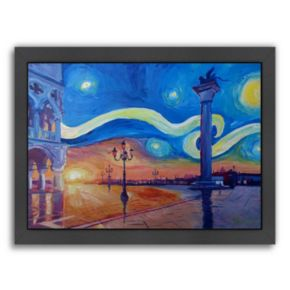 "Americanflat ""Starry Night in Venice Italy San Marco with Lion"" Framed Wall Art"