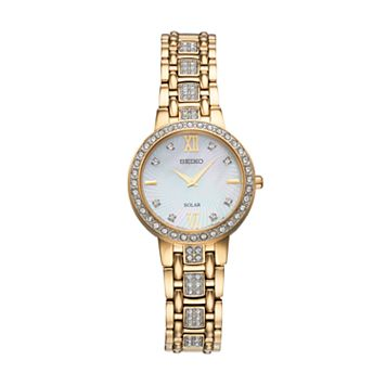 Seiko Women's Crystal Stainless Steel Solar Watch