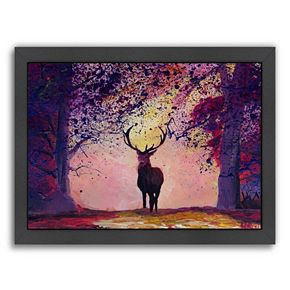 """Americanflat """"The Deer Coming from the Glade 2"""" Framed Wall Art"""