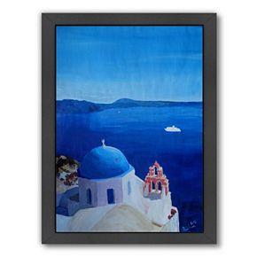"Americanflat ""All Blue Santorini Oia Greece With Cruise Ship"" Framed Wall Art"