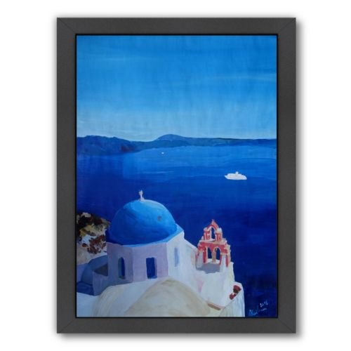 "Americanflat ""All Blue Santorini Oia Greece With Cruise Ship"" Framed Wall Art"