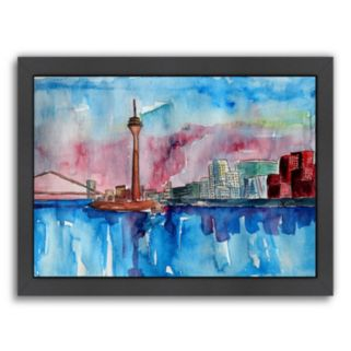 "Americanflat ""Dusseldorf Germany Media Harbour Sunset"" Framed Wall Art"
