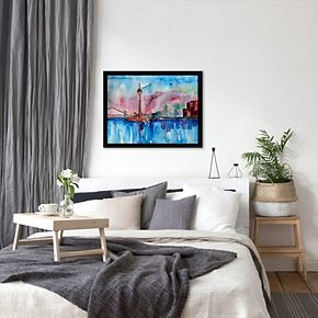 "Americanflat ""Dusseldorf Germany Media Harbour Sunset"" Framed Wall Art"