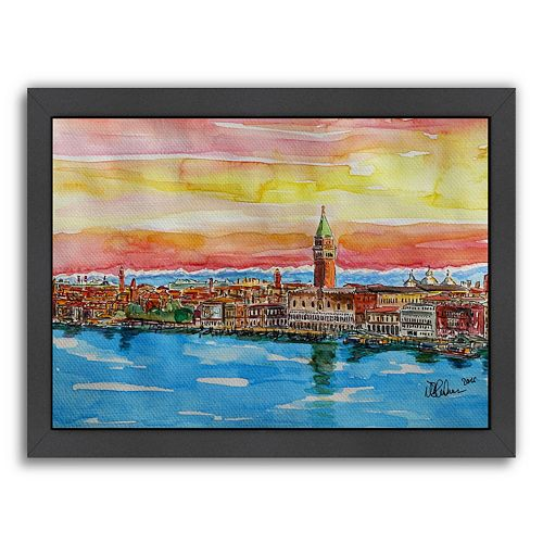 """Americanflat """"Fabulous Venice Italy With Snowcovered Alps 2"""" Framed Wall Art"""