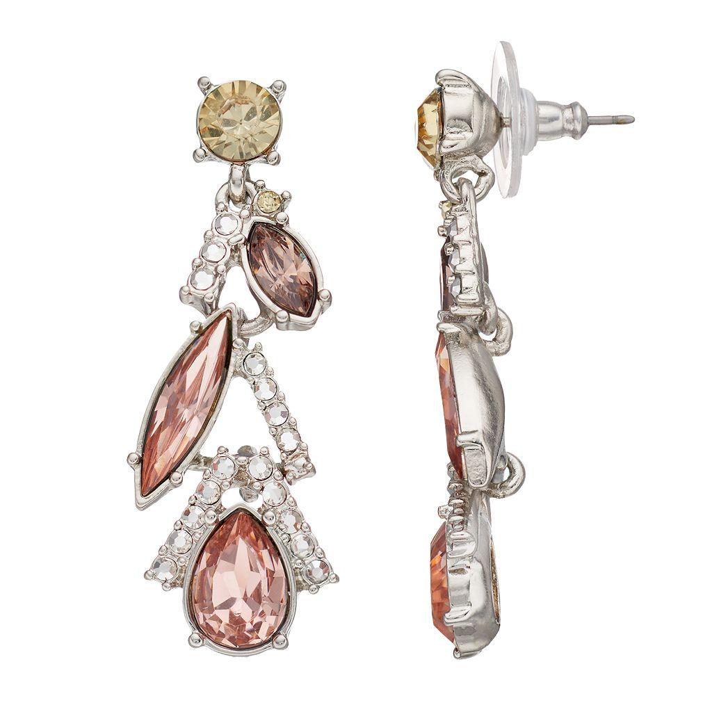 Simply Vera Vera Wang Pink Geometric Nickel Free Linear Drop Earrings