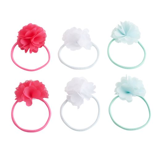 Girls 4-16 6-pk. Chiffon Flower Hair Pony Set