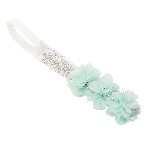 Girls 4-16 Glitter Crochet Flower Headwrap