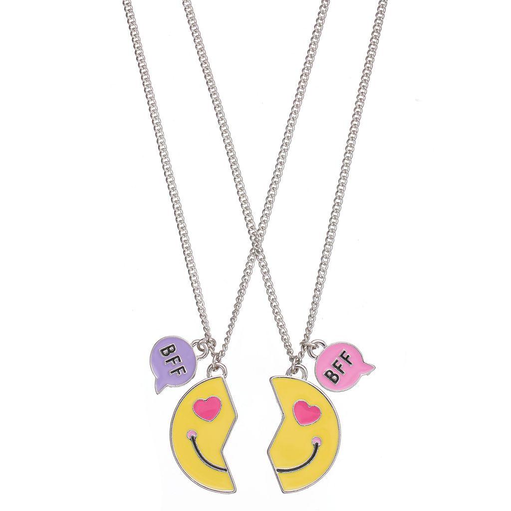 Girls 5-16 Emoji BFF Best Friends Necklace Set