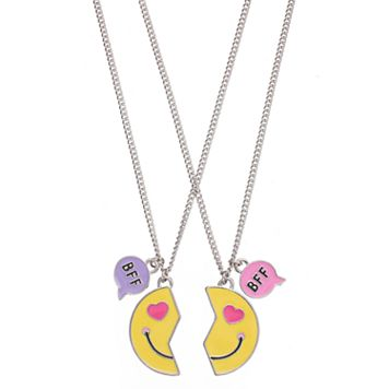Girls 5-16 Emoji BFF Best Friends Necklace Set