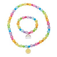 Girls 5-16 Emoji Stretch Necklace & Bracelet Set
