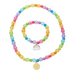 Girls 5-16 Emoji Stretch Necklace & Bracelet Set
