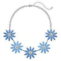 Blue Glittery Flower Statement Necklace