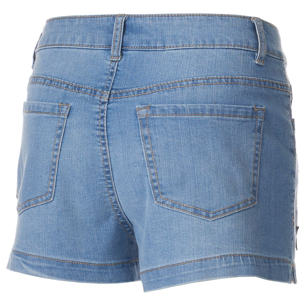 Juniors' SO® High-Waisted Patch Jean Shortie Shorts