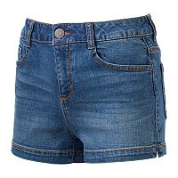 Juniors' SO® High-Waist Jean Shortie Shorts