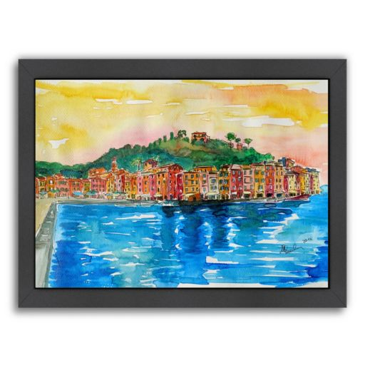 "Americanflat ""Picturesque Portofino Ligure Italy 2"" Framed Wall Art"