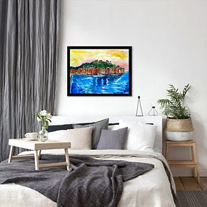 "Americanflat ""Picturesque Portofino Ligure Italy"" Framed Wall Art"