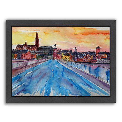 """Americanflat """"Regensburg Pearl On Danube"""" Framed Wall Art"""