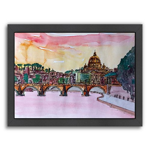 "Americanflat ""Vatican Rome Italy Sunset"" Framed Wall Art"