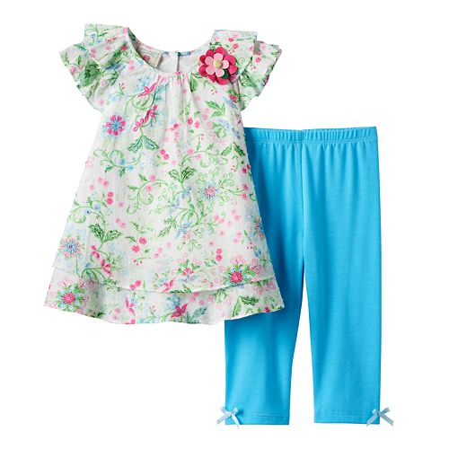 Baby Girl Marmellata Classics Floral Chiffon Top & Leggings Set