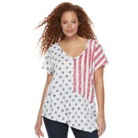 Plus Size Rock & Republic® American Flag Doman Tee