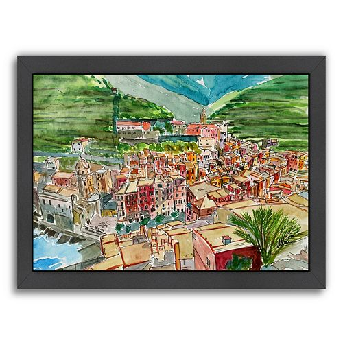 """Americanflat """"Vernazza A Dream Of Romantic Italy"""" Framed Wall Art"""