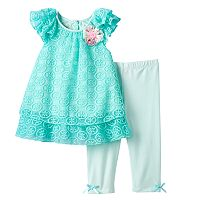 Baby Girl Marmellata Classics Lace Chiffon Top & Capri Leggings Set
