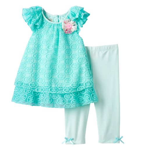 Baby Girl Marmellata Classics Lace Chiffon Top & Capri Leggings Set