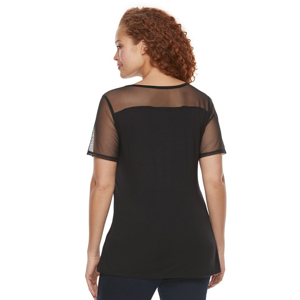 Plus Size Rock & Republic® Sheer Sleeve V-Neck Top