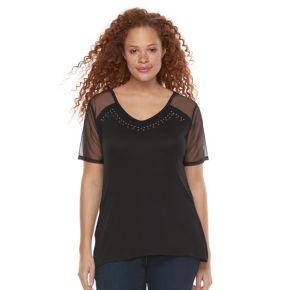 Plus Size Rock & Republic® Sheer Sleeve V-Neck Top