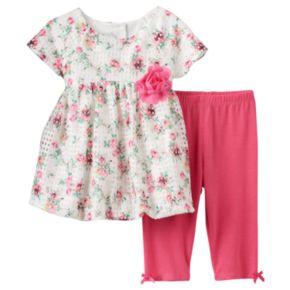 Baby Girl Marmellata Classics Floral Eyelet Bubble Hem Dress & Bow Leggings Set
