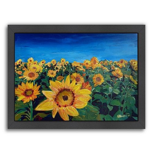 "Americanflat ""Beautiful Morning At Sunflower Fields"" Framed Wall Art"