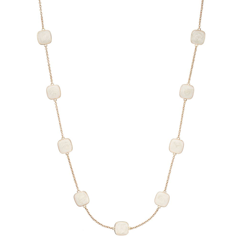 White Marbled Square Long Station Necklace
