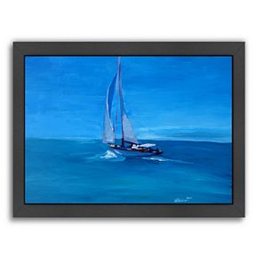 """Americanflat """"Sailing Into The Blue"""" Framed Wall Art"""