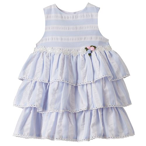 Baby Girl Marmellata Classics Striped Tiered Dress