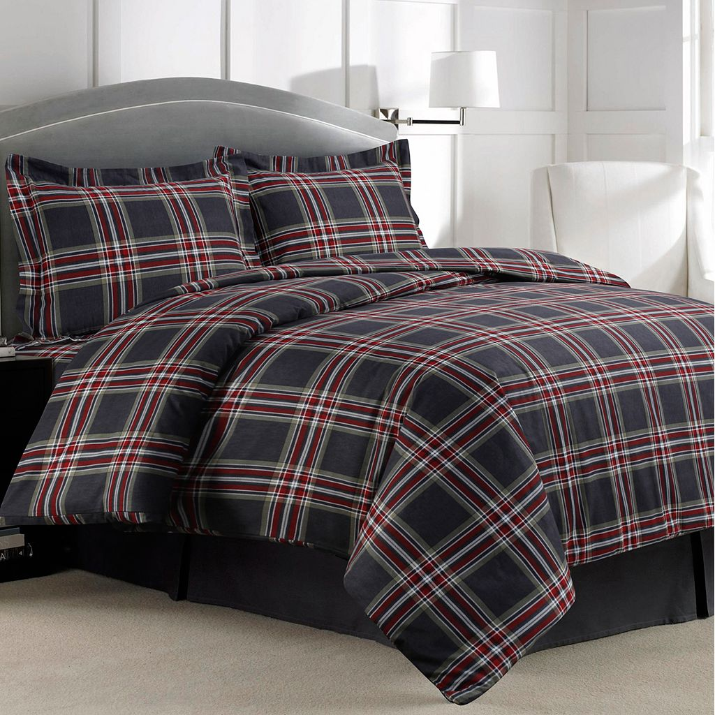 Heritage Plaid 3-piece Flannel Printed Duvet Cover Set