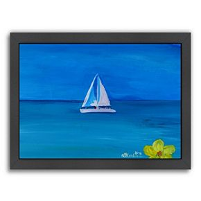 "Americanflat ""White Boat In The Caribbean I"" Framed Wall Art"