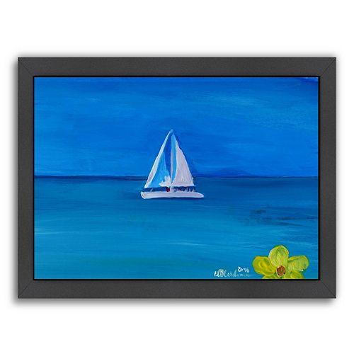 "Americanflat ""White Boat In The Caribbean I"" Framed Wall Art"