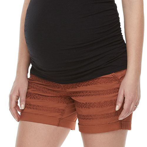 Maternity a:glow Belly Panel Embroidered Shorts