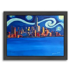 """Americanflat """"Starry Night In New York City"""" Framed Wall Art"""