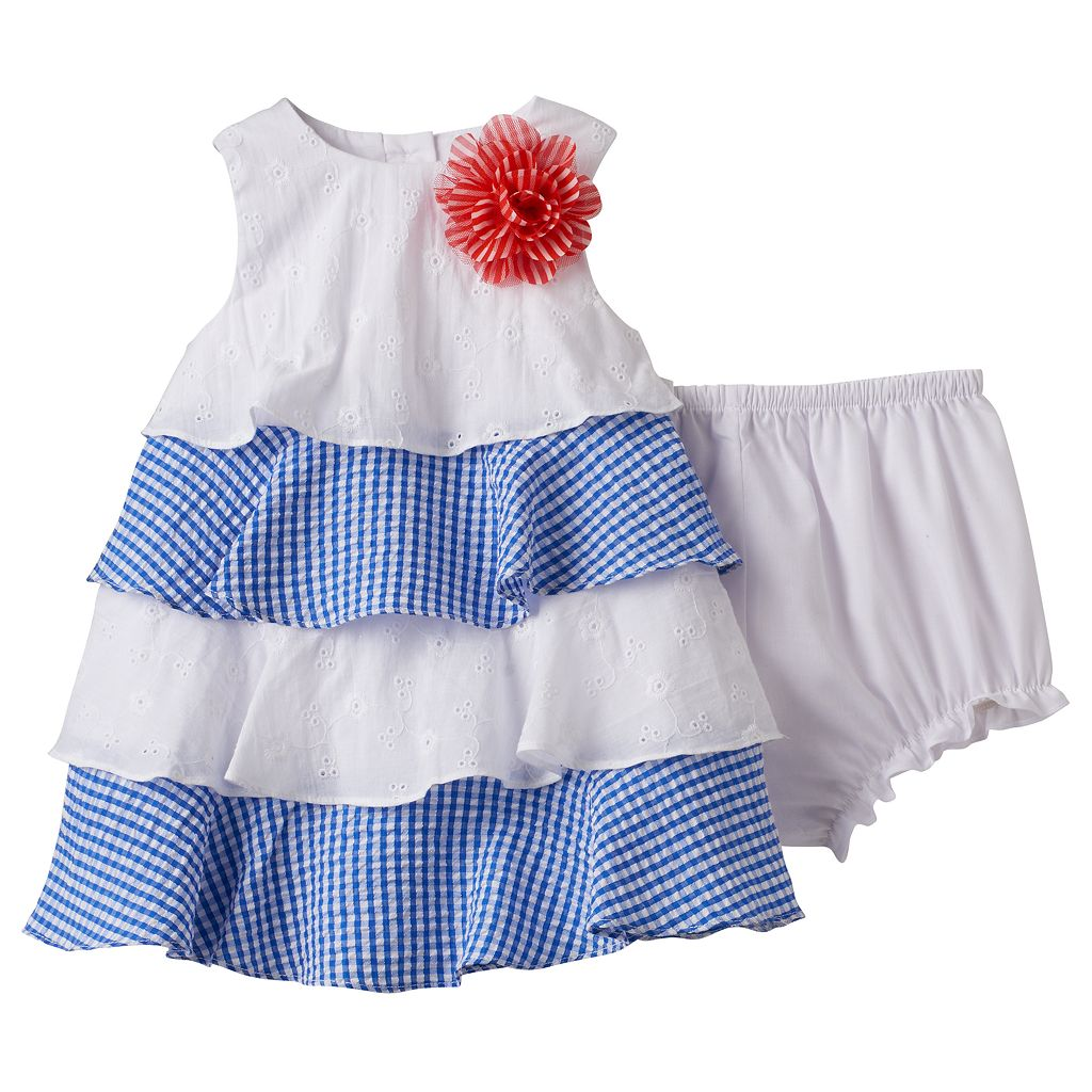 Baby Girl Marmellata Classics Gingham Tiered Dress