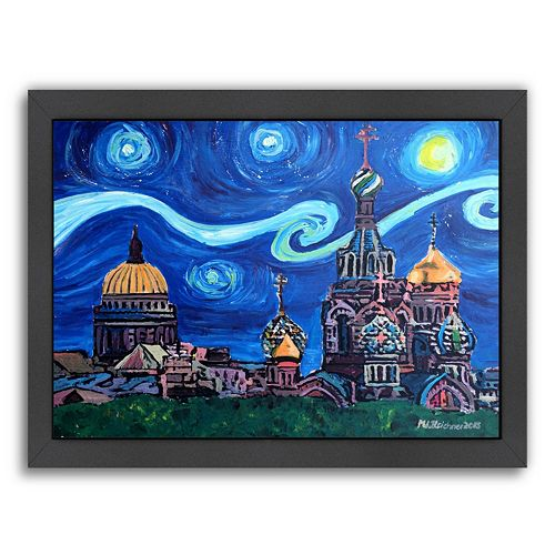 "Americanflat ""Starry Night In St. Petersburg Russia"" Framed Wall Art"