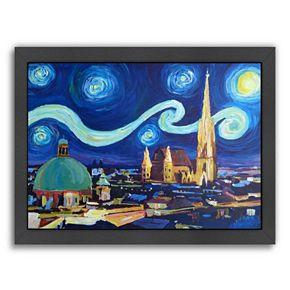 "Americanflat ""Starry Night In Vienna Austria"" Framed Wall Art"